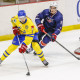 August 6, 2015: USA Hockey F, Dominic Turgeon (9), defends against Team Sweden D, Jacob Larsson (7), during 5-2 exhibition loss to Sweden during USA Hockey Junior Evaluation Camp at Herb Brooks Arena in Lake Placid, NY.