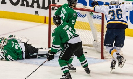 07 MAY 2016: Dallas Stars goalie Kari Lehtonen (32), right wing Brett Ritchie (25) and defenseman Johnny Oduya (47) watch the puck go into the net as St. Louis Blues center Paul Stastny (26) celebrates a goal during the game between the Dallas Stars and the St. Louis Blues at the American Airlines Center in Dallas, Texas. St. Louis beats Dallas 4-1 to lead the series 3-2. (Photo by Matthew PearceIcon Sportswire)