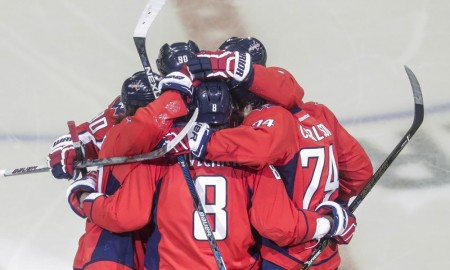 Capitals players celebrate goal by Washington Capitals left wing Alex Ovechkin (8) during the Pittsburgh Penguins and Washington Capitals NHL second round playoff game at Verizon Center in Washington, D.C. Washington best Pittsburgh 3-1. (Photo by John Crouch/Icon Sportswire).