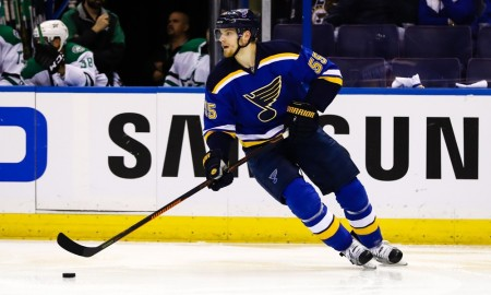 May 9, 2016: St. Louis Blues defenseman Colton Parayko (55) skates with the puck during the second period of a NHL Western Conference Round 2 - Game 6 Stanley Cup Playoff matchup between the Dallas Stars and the St. Louis Blues at Scottrade Center in St. Louis, MO. (Photo by Tim Spyers/Icon Sportswire)