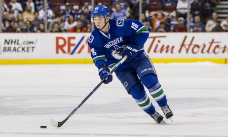 09 Apr 2016; Vancouver Canucks forward Jake Virtanen (18) against the Edmonton Oilers during a game at Rogers Arena in Vancouver BC. Vancouver won 4-3 in a shootout. (Photograph by Bob Frid/Icon Sportswire)