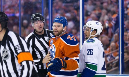 06 April 2016: Forward Zack Kassian #44 of the Edmonton Oilers and Emerson Etem #26 get penatlies for roughing during the Vancouver Canucks game versus the Edmonton Oilers at the last ever NHL hockey game at Rexall Place in Edmonton, Alberta. (Photo by Curtis Comeau/Icon Sportswire)