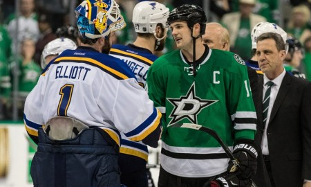 11 MAY 2016: St. Louis Blues goalie Brian Elliott (1) and Dallas Stars left wing Jamie Benn (14) do the traditional handshake after the game between the Dallas Stars and the St. Louis Blues at the American Airlines Center in Dallas, Texas. St. Louis defeats Dallas 6-1 to clinch the series 4-3. (Photo by Matthew PearceIcon Sportswire)
