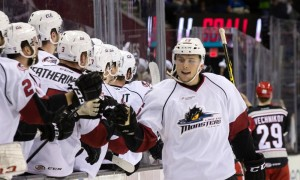 14 May 2016: Lake Erie Monsters LW Kerby Rychel (16) is congratulated by teammates after scoring a goal during the first period of the AHL Calder Cup Central Division Finals Game 5 hockey game between the Grand Rapids Griffins and Lake Erie Monsters at Quicken Loans Arena in Cleveland, OH. (Photo by Frank Jansky/Icon Sportswire)