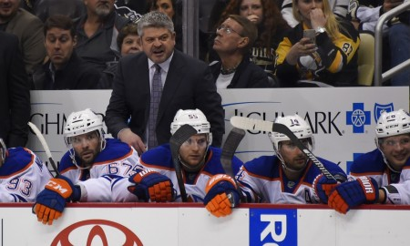 28 November 2015: Edmonton Oilers head coach Todd McLellan on the bench during the second period. The Edmonton Oilers won 3-2 in the shootout against the Pittsburgh Penguins at the Consol Energy Center in Pittsburgh, Pennsylvania. (Photo by Jeanine Leech/Icon Sportswire)