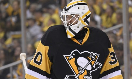 26 May 2016: Pittsburgh Penguins goalie Matt Murray (30) watches the action during the first period. The Pittsburgh Penguins won Game Seven 2-1 against the Tampa Bay Lightning in the Eastern Conference Finals of the 2016 NHL Stanley Cup Playoffs at the Consol Energy Center in Pittsburgh, Pennsylvania. The Pittsburgh Penguins won the best-of-seven series 4-3 and advance to the Stanley Cup Finals. Photographer: Jeanine Leech/Icon Sportswire