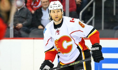19 JAN 2016: Calgary Flames defenseman Dennis Wideman (6) during the first period of the game between the New Jersey Devils and the Calgary Flames played at the Prudential Center in Newark,NJ. (Photo by Rich Graessle/Icon Sportswire)
