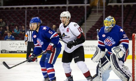 25 February 2016: Rochester Americans D Chad Ruhwedel (5), Lake Erie Monsters LW Trent Vogelhuber (13), and Rochester Americans G Linus Ullmark (30) during the second period of the AHL hockey game between the Rochester Americans and Lake Erie Monsters at Quicken Loans Arena in Cleveland, OH. Lake Erie defeated Rochester 5-2. (Photo by Frank Jansky/Icon Sportswire)