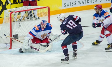 Prague, 16.5.2015, Ice Hockey IIHF World Championships, USA - Russia, Jimmy Vesey (USA) against Goalie Sergei Bobrovski (RUS) ****NO AGENTS----NORTH AND SOUTH AMERICA SALES ONLY----NO AGENTS----NORTH AND SOUTH AMERICA SALES ONLY**** Photographer: Robert Hradil/EQ Images/Icon Sportswire