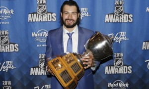 2016 June 22: Los Angeles Kings defenceman Drew Doughty poses for a photograph after receiving the Norris Trophy during the 2016 NHL Awards at the Hard Rock Hotel and Casino in Las Vegas, Nevada. (Photo by Marc Sanchez/Icon Sportswire)