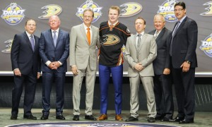 June 24, 2016: Max Jones poses with Anaheim Ducks management and coaches after he was selected as the 24th pick in the first round of the 2016 NHL Entry Draft at First Niagara Center in Buffalo, NY (Photo by John Crouch/Icon Sportswire.)