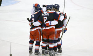 May 21, 2015: Hartford celebrates the goal from Hartford Wolf Pack Defenseman Mat Bodie (2). The Manchester Monarchs defeated the Hartford Wolf Pack 3-2 in Game 1 of the Eastern Conference Finals of the 2015 AHL Calder Cup playoffs at Verizon Wireless Arena in Manchester, NH. Photographer: Fred Kfoury III/Icon Sportswire