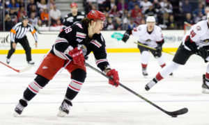14 May 2016: Grand Rapids Griffins LW Tyler Bertuzzi (39) with the puck during the first period of the AHL Calder Cup Central Division Finals Game 5 hockey game between the Grand Rapids Griffins and Lake Erie Monsters at Quicken Loans Arena in Cleveland, OH. (Photo by Frank Jansky/Icon Sportswire)