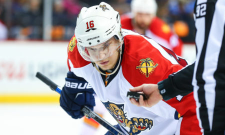24 APR 2016: Florida Panthers center Aleksander Barkov (16) during Game 6 of the 2016 NHL Playoffs between the New York Islanders and the Florida Panthers played at the Braclays Center in Brooklyn,NY. (Photo by Rich Graessle/Icon Sportswire)