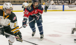 Alexa Gruschow waits for a pass. Alyssa Gagliardi attempts to interrupt a pass. New York Riveters at Boston Pride, Saturday, Oct. 8, 2016, Opening Weekend. Mandatory Photo Credit: Kaitlin S. Cimini