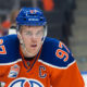 12 Oct 2016: Oilers Capitan Connor McDavid #97 of the Edmonton Oilers in action during the Calgary Flames versus the Edmonton Oilers hockey game in the 2016/17 Oilers season opener hockey game in Rogers Place in Edmonton, Alberta. (Photo by Curtis Comeau/Icon Sportswire)