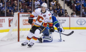 15 Oct 2016; Calgary Flames Center Sean Monahan (23) reacts after not scoring on Vancouver Canucks Goalie Ryan Miller (30) during a shootout attempt during a game at Rogers Arena in Vancouver BC. (Photo by Bob Frid/Icon Sportswire)
