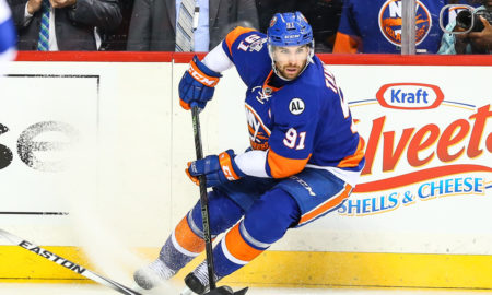 03 MAY 2016: New York Islanders center John Tavares (91) during the second period of Game 3 of the second round series between the New York Islanders and the Tampa Bay Lightning played at the Barclays Center in Brooklyn,NY. (Photo by Rich Graessle/Icon Sportswire)
