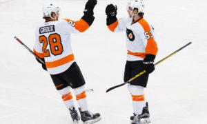 Philadelphia Flyers Defenceman Shayne Gostisbehere (53) [9358] celebrates his goal with Center Claude Giroux (28) [5703] during the NHL game between the Philadelphia Flyers and the Dallas Stars at the American Airlines Center in Dallas, TX. (Photo by Andrew Dieb/Icon Sportswire)