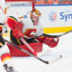 12 Oct 2016: Calgary Flames Goalie Brian Elliott #1 reaches for the pick in the Calgary Flames versus the Edmonton Oilers hockey game in the 2016/17 Oilers season opener hockey game in Rogers Place in Edmonton, Alberta. (Photo by Curtis Comeau/Icon Sportswire)