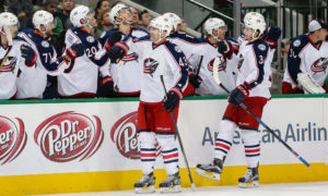 Columbus Blue Jackets Left Wing Scott Hartnell (43) is congratulated after scoring a goal during the NHL game between the Columbus Blue Jackets and Dallas Stars at the American Airlines Center in Dallas, Texas. Columbus defeats Dallas 3-0. (Photo by Andrew Dieb/Icon Sportswire)