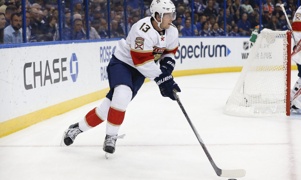 18 October 2016: Florida Panthers defenseman Mark Pysyk (13) skates with the puck during the NHL game between the Florida Panthers and Tampa Bay Lightning at Amalie Arena in Tampa, FL. (Photo by Mark LoMoglio/Icon Sportswire)