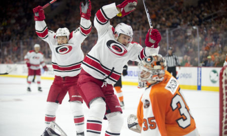 October 22, 2016: Carolina Hurricanes Right Wing Lee Stempniak (21) scores a goal in the second period during the game between the Carolina Hurricanes and the Philadelphia Flyers at Wells Fargo Center in Philadelphia, PA. (Photo by Kyle Ross/Icon Sportswire)