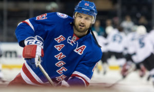 October 17, 2016: New York Rangers Left Wing Rick Nash (61) during player warm-up's prior to the start of a NHL game between the San Jose Sharks and the New York Rangers at Madison Square Garden in New York, NY. (Photo by David Hahn/Icon Sportswire)