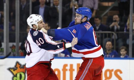 February 29, 2016: New York Rangers Defenceman Dylan McIlrath (6) [7929] and Columbus Blue Jackets Right Wing Jared Boll (40) [5140] square off I. The second period of a NHL game between the Columbus Blue Jackets and the New York Rangers at Madison Square Garden in New York, NY. (Photo by David Hahn/Icon Sportswire)